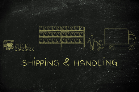 handling: shipping & handling: product passing from factory production line to companys warehouse to shipping truck Stock Photo
