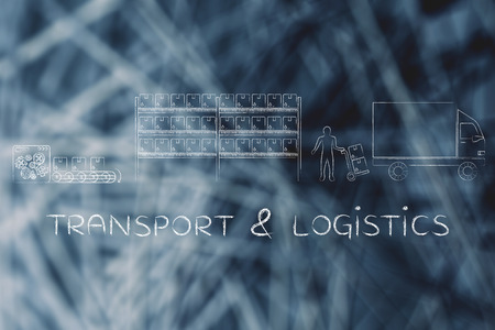 transport truck: transport & logistics: product passing from factory production line to companys warehouse to shipping truck