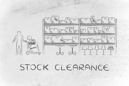 furniture store: stock clearance: customer with shopping cart walking through warehouse style aisle in a furniture store