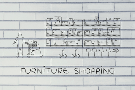 furniture store: furniture shopping: customer with shopping cart walking through warehouse style aisle in a furniture store