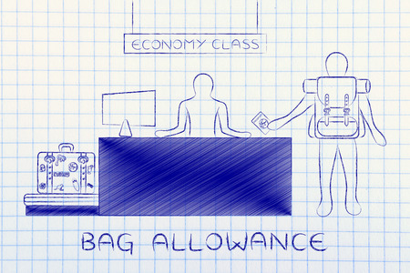 allowance: bag allowance: traveler at economy class airport check-in showing passport and dropping bags Stock Photo