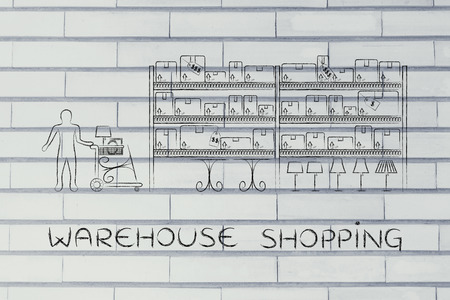 furniture store: warehouse shopping: customer with shopping cart walking through warehouse style aisle in a furniture store