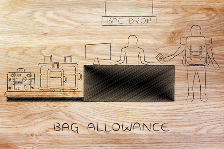 allowance: bag allowance: traveler at airport check-in showin passport and dropping bags