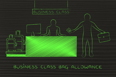 allowance: business class bag allowance: traveler at airport check-in showing passport and dropping bags