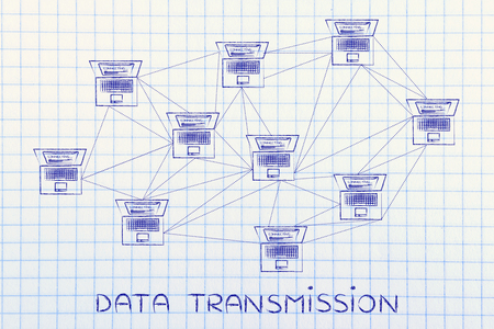 multitude: data transmission: computer network with multitude of connections creating a low poly style pattern