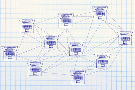 topology: computer network with multitude of connections creating a low poly style pattern Stock Photo