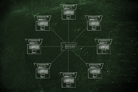network topology: computers and hub in a star network structure Stock Photo
