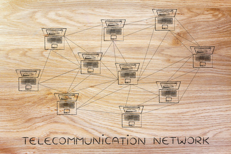 topology: telecommunication network: computer network with multitude of connections creating a low poly style pattern Stock Photo