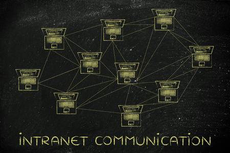 intranet: intranet communication: computer network with multitude of connections creating a low poly style pattern Stock Photo