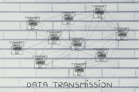 network topology: data transmission: computer network with multitude of connections creating a low poly style pattern