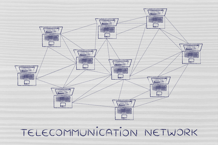 network topology: telecommunication network: computer network with multitude of connections creating a low poly style pattern Stock Photo