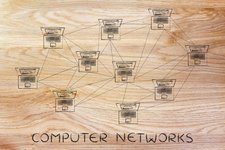 network topology: computer networks: laptops with multitude of connections creating a low poly style pattern