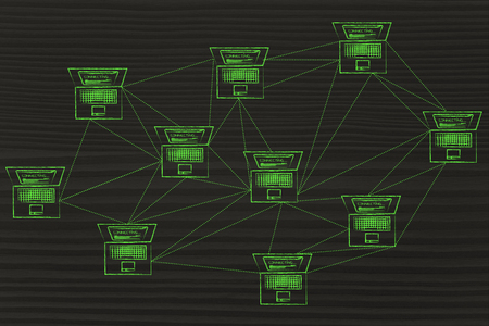 network topology: computer network with multitude of connections creating a low poly style pattern Stock Photo