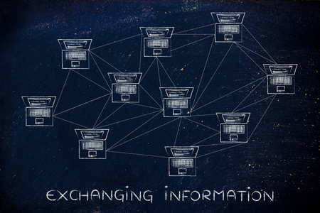 multitude: exchanging information: computer network with multitude of connections creating a low poly style pattern