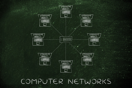 hub computer: computer network: laptop and hub in a star network structure