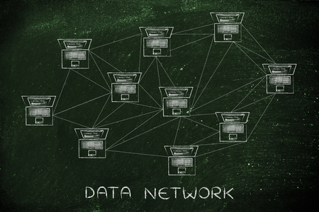 topology: data network: computer network with multitude of connections creating a low poly style pattern