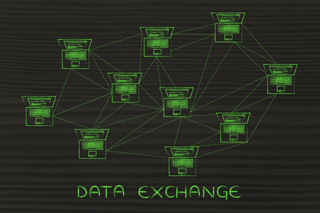 multitude: data exhcange: computer network with multitude of connections creating a low poly style pattern