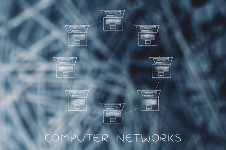 network topology: computer networks: laptops connected with each other in a ring network structure Stock Photo