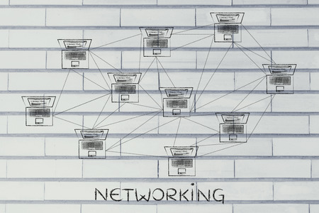 multitude: networking: computer network with multitude of connections creating a low poly style pattern
