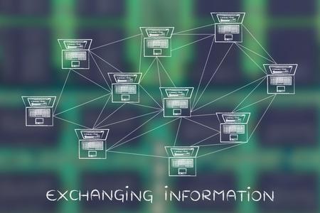 el intercambio de información: la red de ordenadores con multitud de conexiones que crean un patrón de estilo bajo poli