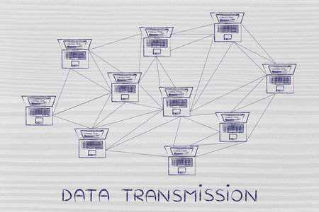 topology: data transmission: computer network with multitude of connections creating a low poly style pattern