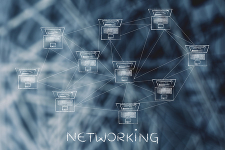 network topology: networking: computer network with multitude of connections creating a low poly style pattern
