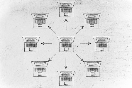 network topology: laptop sending data to other computers around it in circle Stock Photo