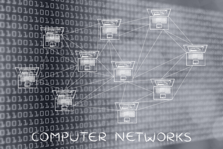 multitude: computer networks: laptops with multitude of connections creating a low poly style pattern