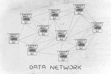 network topology: data network: computer network with multitude of connections creating a low poly style pattern