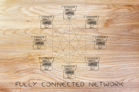 network topology: fully connected network: laptops connected with each other Stock Photo