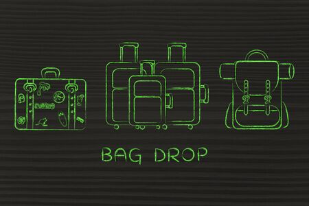 alumnos en clase: bag drop: illustration of different types of travel bags