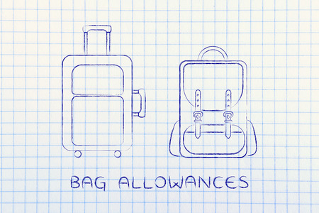 alumnos en clase: bag allowances: illustration of a cabin baggage and backpack