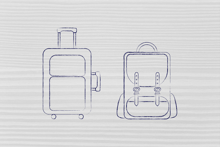alumnos en clase: illustration of a cabin baggage and backpack