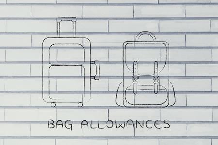 alumnos en clase: asignaciones de bolsas: la ilustración de un equipaje de mano y la mochila
