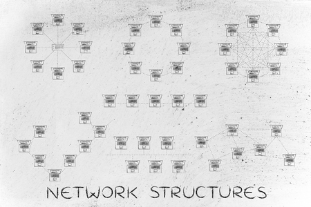network topology: network structures: different computer networks designed with tiny laptops and dashed connection lines Stock Photo