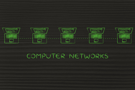 network topology: computer network: laptops connected with each other in a line network structure