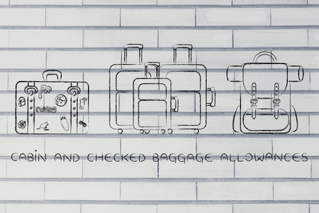 alumnos en clase: cabin and checked baggage allowances: illustration of different types of travel bags Foto de archivo