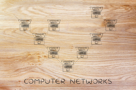 network topology: computer network: laptops connected with each other in a tree network structure