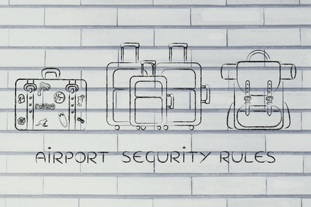 airport security: airport security rules: illustration of different types of travel bags