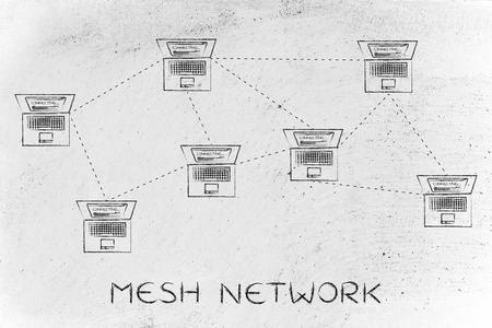 network topology: mesh network: laptops connected with each other in a mesh network structure