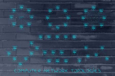network topology: computer network topologies: different  networks designed with tiny laptops and dashed connection lines Stock Photo