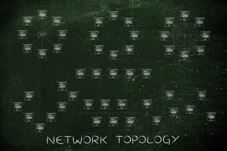 network topology: network topology: different computer networks designed with tiny laptops and dashed connection lines