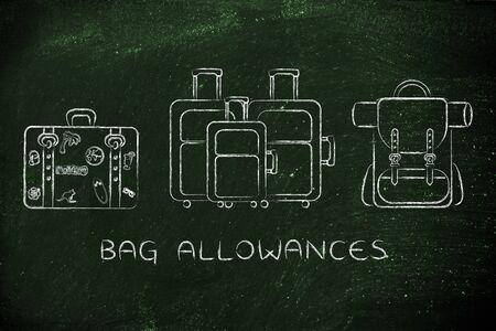 alumnos en clase: asignaciones de bolsas: en la ilustración de los diferentes tipos de bolsas de viaje