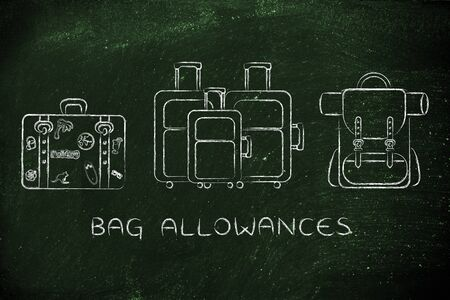 alumnos en clase: bag allowances: illustration of different types of travel bags