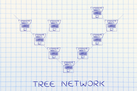 network topology: tree network: laptops connected with each other in a tree network structure