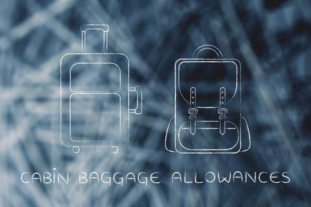 alumnos en clase: franquicias de equipaje de cabina: ilustración de una pieza de equipaje y una mochila Foto de archivo