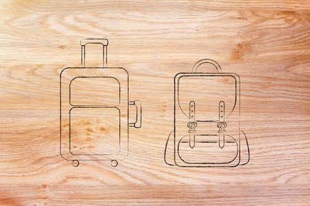 alumnos en clase: illustration of a cabin baggage and backpack