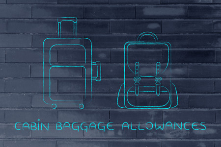 alumnos en clase: cabin baggage allowances: illustration of a piece of luggage and a backpack Foto de archivo