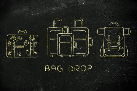 alumnos en clase: bag drop: illustration of different types of travel bags