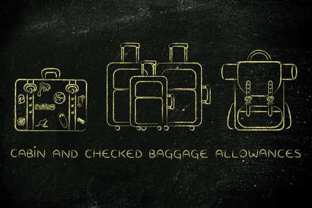 alumnos en clase: cabina y verificados los límites de equipaje: ilustración de los diferentes tipos de bolsas de viaje Foto de archivo